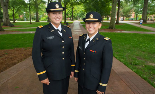 Two female ROTC Cadets in uniform left to right: Lakoda Kissee and Katie Smith